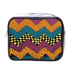 Painted Chevron Pattern Wave Rainbow Color Mini Toiletries Bags by Alisyart