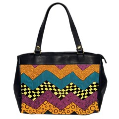 Painted Chevron Pattern Wave Rainbow Color Office Handbags (2 Sides)  by Alisyart