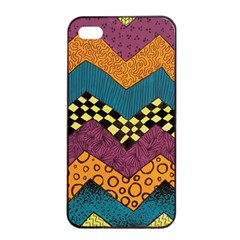 Painted Chevron Pattern Wave Rainbow Color Apple Iphone 4/4s Seamless Case (black) by Alisyart