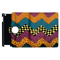 Painted Chevron Pattern Wave Rainbow Color Apple Ipad 3/4 Flip 360 Case by Alisyart
