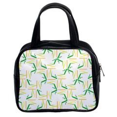 Patterns Boomerang Line Chevron Green Orange Yellow Classic Handbags (2 Sides) by Alisyart