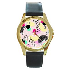 Pink Circle Red Pattern,sexy Round Gold Metal Watch by Alisyart