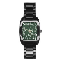 Question Mark White Green Think Stainless Steel Barrel Watch by Alisyart
