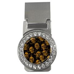 Sparkling Glitter Skulls Golden Money Clips (cz)  by ImpressiveMoments