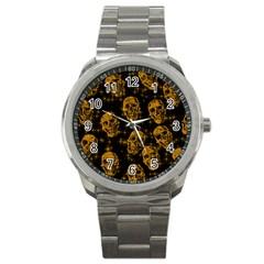 Sparkling Glitter Skulls Golden Sport Metal Watch by ImpressiveMoments