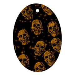 Sparkling Glitter Skulls Golden Oval Ornament (two Sides) by ImpressiveMoments