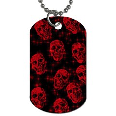 Sparkling Glitter Skulls Red Dog Tag (two Sides) by ImpressiveMoments