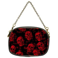 Sparkling Glitter Skulls Red Chain Purses (one Side)  by ImpressiveMoments