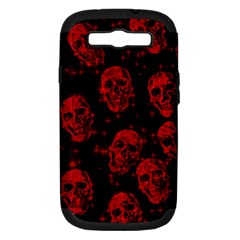 Sparkling Glitter Skulls Red Samsung Galaxy S Iii Hardshell Case (pc+silicone) by ImpressiveMoments