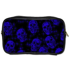 Sparkling Glitter Skulls Blue Toiletries Bags 2 Side by ImpressiveMoments