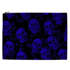 Sparkling Glitter Skulls Blue Cosmetic Bag (xxl)  by ImpressiveMoments