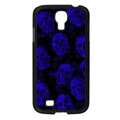Sparkling Glitter Skulls Blue Samsung Galaxy S4 I9500/ I9505 Case (black) by ImpressiveMoments