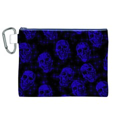 Sparkling Glitter Skulls Blue Canvas Cosmetic Bag (xl) by ImpressiveMoments