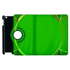 Green Circle Fractal Frame Apple Ipad 2 Flip 360 Case by Simbadda