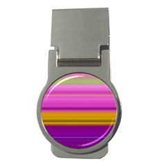 Stripes Colorful Background Colorful Pink Red Purple Green Yellow Striped Wallpaper Money Clips (round)  by Simbadda