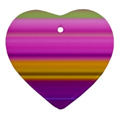 Stripes Colorful Background Colorful Pink Red Purple Green Yellow Striped Wallpaper Heart Ornament (two Sides) by Simbadda