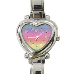 Watercolor Paper Rainbow Colors Heart Italian Charm Watch by Simbadda