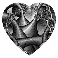 Grey Fractal Background With Chains Jigsaw Puzzle (heart) by Simbadda