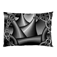 Grey Fractal Background With Chains Pillow Case by Simbadda