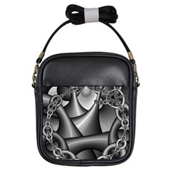 Grey Fractal Background With Chains Girls Sling Bags by Simbadda