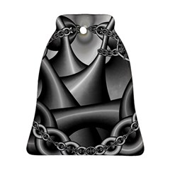 Grey Fractal Background With Chains Bell Ornament (two Sides) by Simbadda