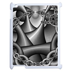 Grey Fractal Background With Chains Apple Ipad 2 Case (white) by Simbadda