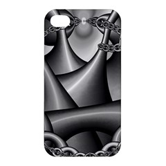 Grey Fractal Background With Chains Apple Iphone 4/4s Premium Hardshell Case by Simbadda