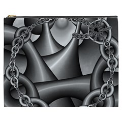 Grey Fractal Background With Chains Cosmetic Bag (xxxl)  by Simbadda