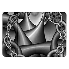 Grey Fractal Background With Chains Samsung Galaxy Tab 8 9  P7300 Flip Case by Simbadda
