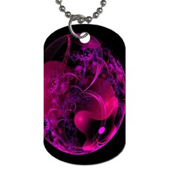 Fractal Using A Script And Coloured In Pink And A Touch Of Blue Dog Tag (two Sides) by Simbadda
