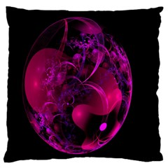 Fractal Using A Script And Coloured In Pink And A Touch Of Blue Large Flano Cushion Case (one Side) by Simbadda