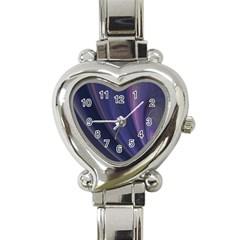 A Pruple Sweeping Fractal Pattern Heart Italian Charm Watch by Simbadda