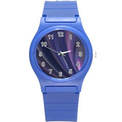 A Pruple Sweeping Fractal Pattern Round Plastic Sport Watch (s) by Simbadda