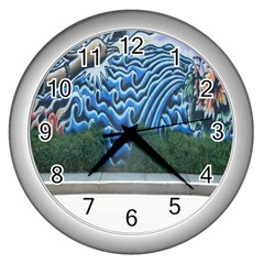 Mural Wall Located Street Georgia Usa Wall Clocks (silver)  by Simbadda