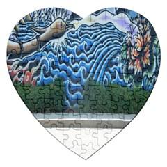 Mural Wall Located Street Georgia Usa Jigsaw Puzzle (heart) by Simbadda