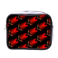 Fractal Background Red And Black Mini Toiletries Bags by Simbadda