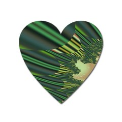 A Feathery Sort Of Green Image Shades Of Green And Cream Fractal Heart Magnet by Simbadda