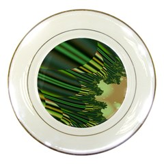 A Feathery Sort Of Green Image Shades Of Green And Cream Fractal Porcelain Plates by Simbadda