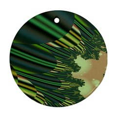 A Feathery Sort Of Green Image Shades Of Green And Cream Fractal Round Ornament (two Sides) by Simbadda