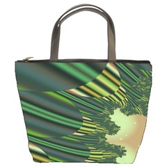 A Feathery Sort Of Green Image Shades Of Green And Cream Fractal Bucket Bags by Simbadda