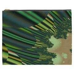 A Feathery Sort Of Green Image Shades Of Green And Cream Fractal Cosmetic Bag (xxxl)  by Simbadda