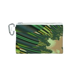 A Feathery Sort Of Green Image Shades Of Green And Cream Fractal Canvas Cosmetic Bag (s) by Simbadda