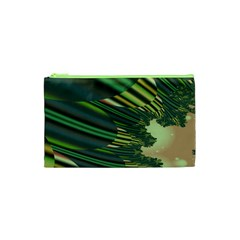 A Feathery Sort Of Green Image Shades Of Green And Cream Fractal Cosmetic Bag (xs) by Simbadda