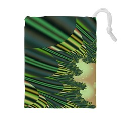 A Feathery Sort Of Green Image Shades Of Green And Cream Fractal Drawstring Pouches (extra Large) by Simbadda