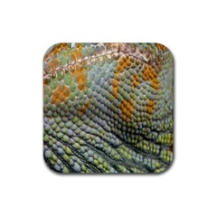 Macro Of Chameleon Skin Texture Background Rubber Square Coaster (4 Pack)  by Simbadda