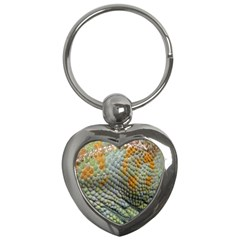Macro Of Chameleon Skin Texture Background Key Chains (heart)  by Simbadda