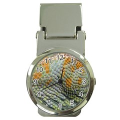Macro Of Chameleon Skin Texture Background Money Clip Watches by Simbadda