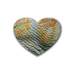 Macro Of Chameleon Skin Texture Background Heart Coaster (4 Pack)  by Simbadda