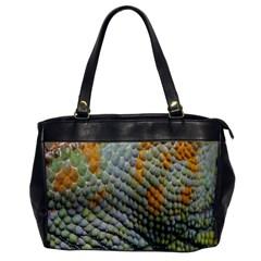 Macro Of Chameleon Skin Texture Background Office Handbags by Simbadda