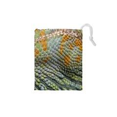 Macro Of Chameleon Skin Texture Background Drawstring Pouches (xs)  by Simbadda